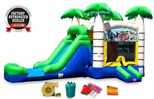 Tropical Bounce House Water Slide Commercial Inflatable Kids Backyard Combo