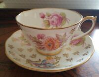Roslyn Fine Bone China Florette Gold Trim white with pink, yellow, pink flowers