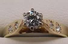 SOLID 18CT YELLOW & WHITE GOLD NATURAL DIAMOND ENGAGEMENT/DRESS RING-VAL $2315
