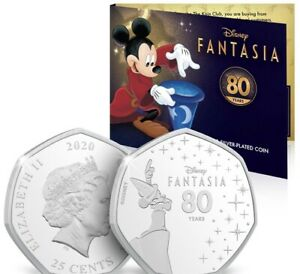 Official Disney Silver-Plated 80 Years Anniversary Fantasia Micky Mouse Coin