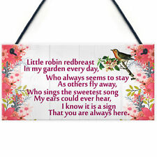 Christmas Sign Memorial Robin Poem Mum Nan Dad Grandad Tree Decoration Sign Gift