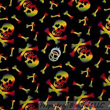 BonEful Fabric Cotton Quilt Black Orange Gothic Skull Skeleton Cross Bone SCRAP