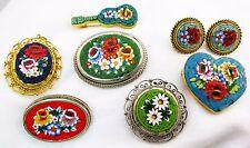 7 Vintage Italian Micro Mosaic 5 Brooch's, 1 Charm,1 set Earrings 7 Total J-07