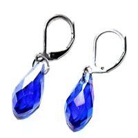 Boucles d'oreilles en acier inoxydable goutte cristal bleu bijou earring