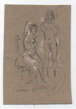 Original Miriam Slater Graphite Pencil & Pastel Figure Drawing Two Woman Nudes