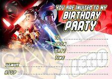 PARTY invitations LEGO Star Wars Forza SCALDA Festa di Compleanno -10 CARDS PER PACK
