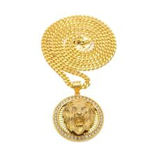 Out Medal Tcb Gold Plated Pendant Necklace Elvis Presley 3D Round Lion Head Iced