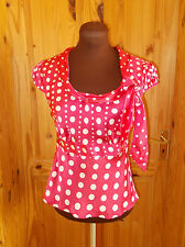 MONSOON hot pink ivory off-white spotted polka dot SILK short sleeve tunic top 8