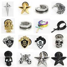 21 Street style Men's Punk Stainless Steel Star Skull Ear Stud Earrings Jewelry