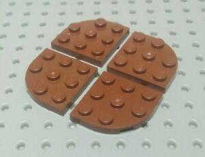 Lego Plate Round Corner 3x3 [30357] Brown Reddish x4