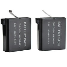 2x 1160mAh Battery Pack AHDBT-401 3.8V 4.4Wh Replacement For GoPro Go Pro Hero 4