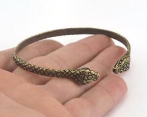Snake Adjustable Bracelet Antique Bronze Plated Brass (64mm inner size ) 3159