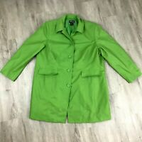 Style & Co Trench Coat Womens Size 20W Green Shoulder Pads 5 Button Collar