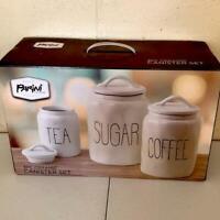 NIB Rae Dunn Inspired PARINI 3 pc Ceramic Kitchen Canister Set Sugar Coffee Tea