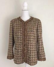 Lafayette 148 Blazer Sequin Beads Sz 12 Tan Browns Tweed