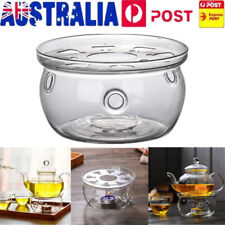 Clear Glass Heat-Resisting Round Teapot Warmer Insulation Base Candle Holder AU
