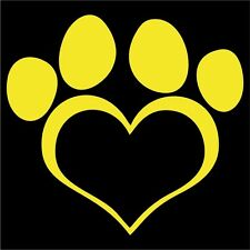 Paw Heart Decal - Choose Size & Color - Dog Cat Pet Labrador Shepherd Poodle