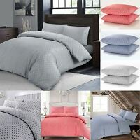 Soft Polka Dot Spotted Quilt Duvet Cover Bedding Set Single Double Super King