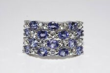 3.55CT NATURAL TANZANITE & WHITE TOPAZ SILVER CLUSTER RING SIZE 8.25