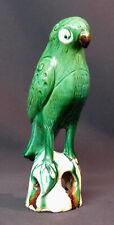 C art chine beau perroquet vert ancien grès vernissé céramique 23c520g déco