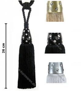 Quaste/Raffhalter 26cm mit Kordel 50cm mit Steinchen leuchtende Kordel DEKO
