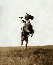 """Cowboy with his horse in Bonham, Texas, 1908 Old West 8""""x 10"""" Photo 15"""