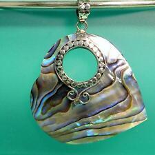 "1 1/2""Abalone Shell Heart Shape Bali Design Handmade Pendant 925 Sterling Silver"