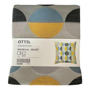 IKEA Ottil Pillow Cover Case New in Packaging Blue Gray Yellow Circle Pattern
