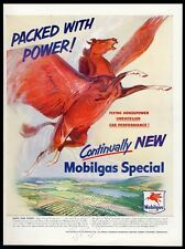 1950 Pegasus red flying horse art Mobil oil gas Packed With Power print ad