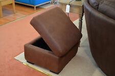 Barcelona Brown Fabric Storage Footstool - Looks Like Leather But Isn't!