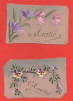 """Lot de deux cartes en celluloïd """"Amitié""""    (J6532)"""