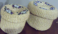 SET OF 2 VINTAGE BAMBOO HAND WOVEN BASKETS BOX WITH LID