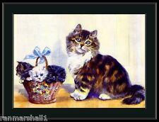 English Picture Print Tabby Persian Cat Kittens Art
