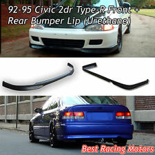 TR Style Front Lip + TR Style Rear Bumper Lip (Urethane) Fit 92-95 Civic 2dr