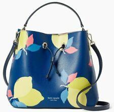 NWT Kate Spade Eva Large Bucket Blue Lemon Pebbled Leather WKRU6754 $379 Ret FS