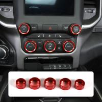 5pcs Red Aluminum Center Console AC Radio Switch Knob Cover Fits Dodge RAM 2018+