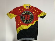 Louis Garneau Men's Large? Road Bike Racing Jersey Yellow/Red Brick Wheels