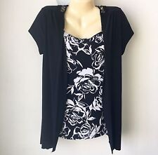 Carole Little Size M Medium Faux Twinset Black Floral Top Tunic Crocheted Back