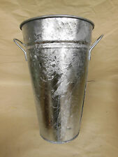 """FRENCH GALVANIZED METAL FLOWER Buquet POT DISPLAY with Handles 12"""" tall - NOS"""