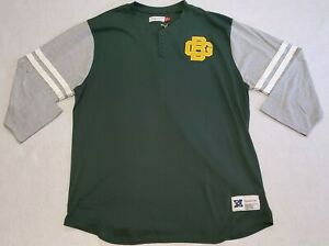 Mitchell & Ness Mens Size XXLT Green Bay Packers NFL Throwback 3/4 Sleeve Henley