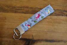 Handmade fabric key fob ring wristlet bag charm blue pink retro birds