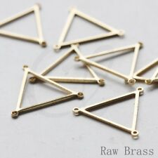 20 Pieces Raw Brass Triangle Charm With 3 Holes - 21x19mm (3745C-V-253)