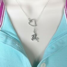 I Love Pegasus Handcrafted Silver Lariat Style Y Necklace.