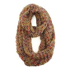 Ladies Winter Lurex Chunky Knit Loop Cowl Infinity Scarf Shawl Ski Rainbow Taupe