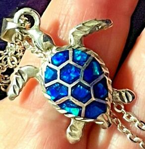 Baby Sea Turtle Opal Necklace Pendant 925 Sterling Silver Rolo Chain