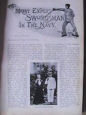 Most Expert Swordsman in Navy Gnr Barrett Sword Fencing Old Antique Article 1899