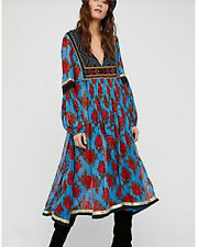 New FREE PEOPLE Bold Blooms Embroidered Blue Red Rose Boho Midi Dress sz L NWT