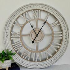 XL Large Hamptons Distressed White Floating Wooden Wall Clock, 72.5cm