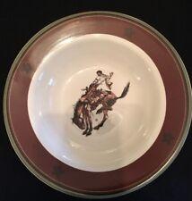 Pendleton Round up Rodeo Let 'er Buck Salad Dessert Cereal Bowl Cowboy Horse EUC