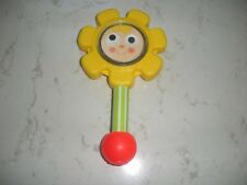 vintage Fisher Price yellow flower rattle #424 mirror smile face 1973 NICE